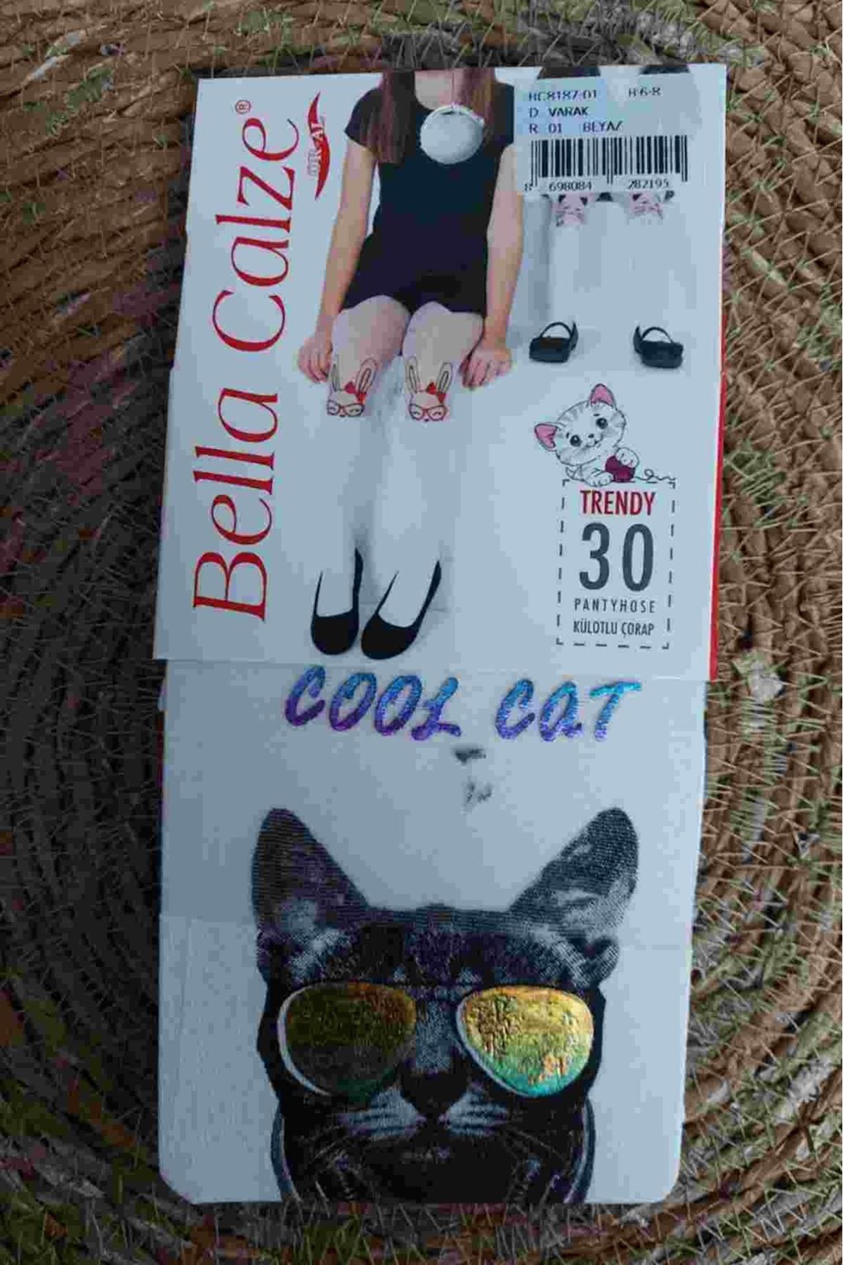 COOL CAT SİYAH KEDİLİ GOLT GÖZLÜKLÜ BEYAZ ÇORAP